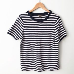 TOMMY BAHAMA Navy blue white striped Sweater